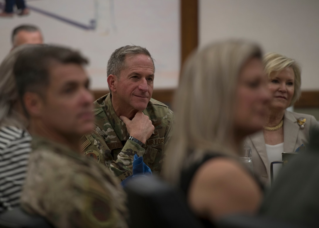 Air Force Chief of Staff Gen. David L. Goldfein and his wife Dawn receive a 56th Fighter Wing mission brief at Luke Air Force Base, Ariz., Nov. 8, 2019.