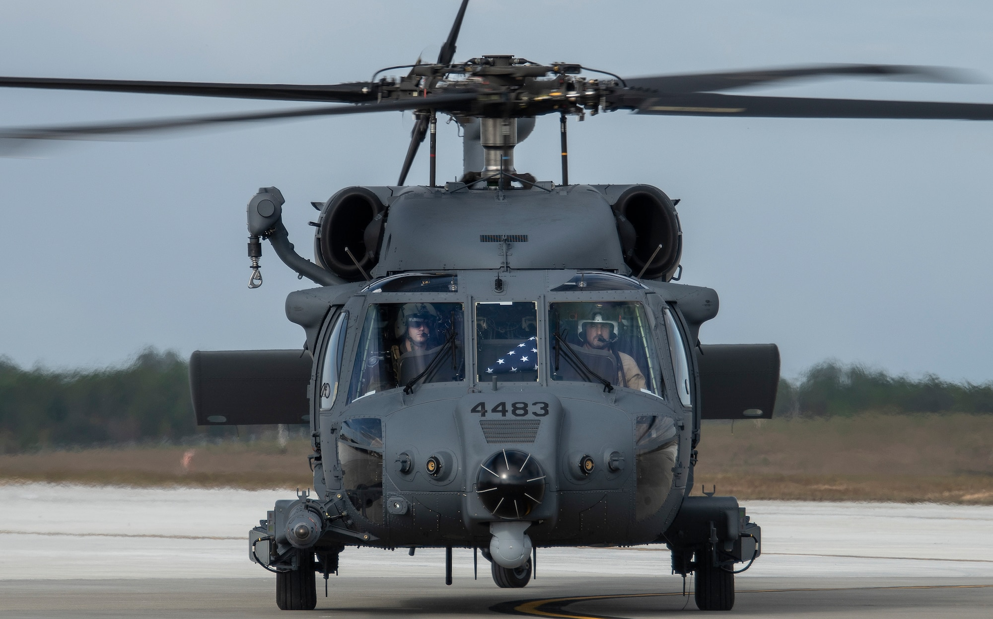 A new HH-60W combat rescue helicopter taxis to its new home Nov. 6, 2020 at Eglin Air Force Base, Fla. The aircraft was delivered to the 413th Flight Test Squadron located at Duke Field. The combat rescue helicopter was the first of two new test aircraft for the developmental test squadron.