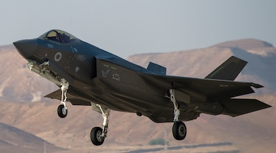 An Israeli F-35I Adir, takes off to participate in a training exercise during Blue Flag 2019 at Uvda Air Base, Israel, November 5, 2019.