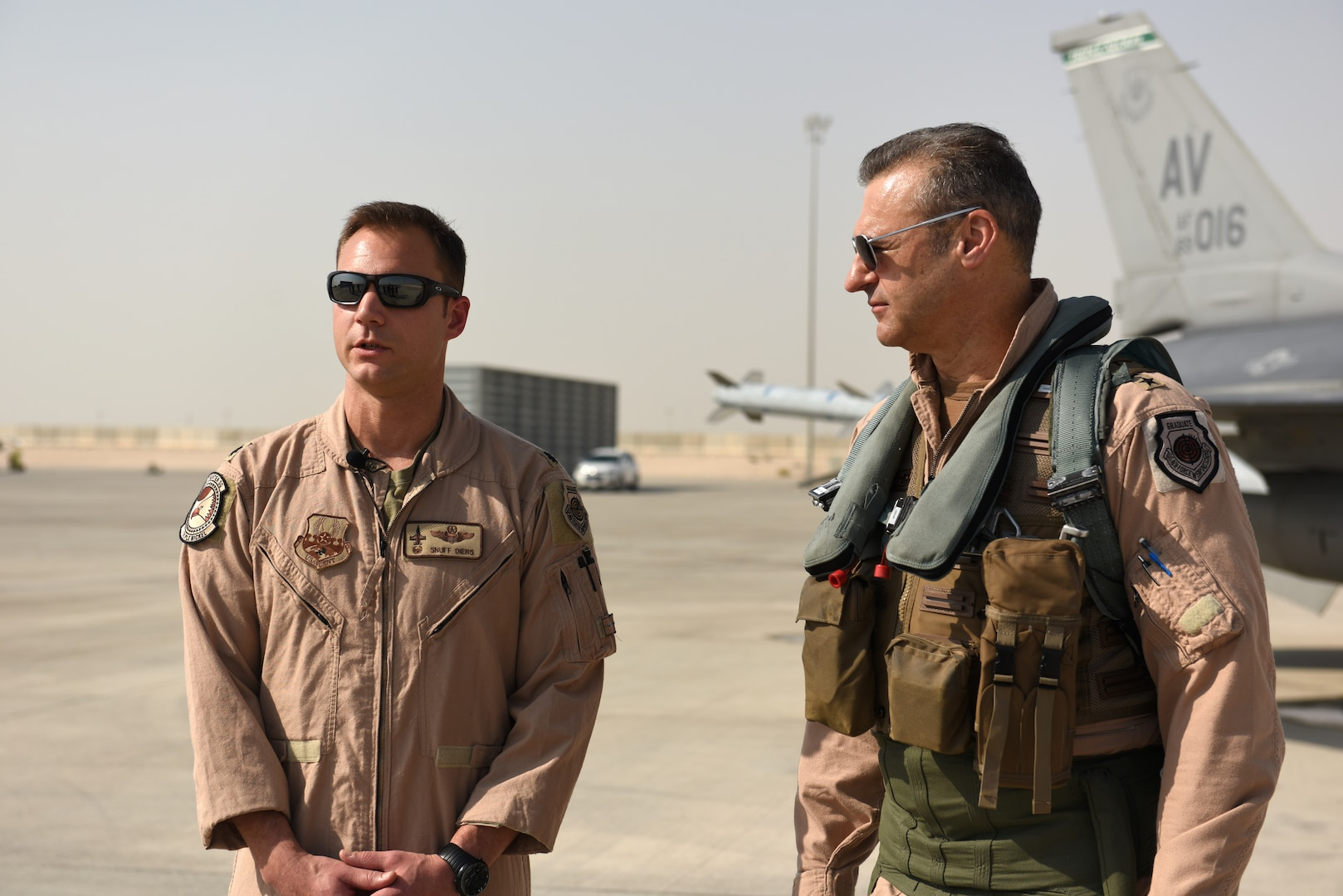 U.S. Air Force Lt. Gen. Joseph Guastella, commander of U.S. Air Forces Central Command, and USAF Lt. Col. Beau Diers, commander of the 555th Fighter Squadron, talk about the squadron's role and history in AFCENT, Nov. 4, 2019.