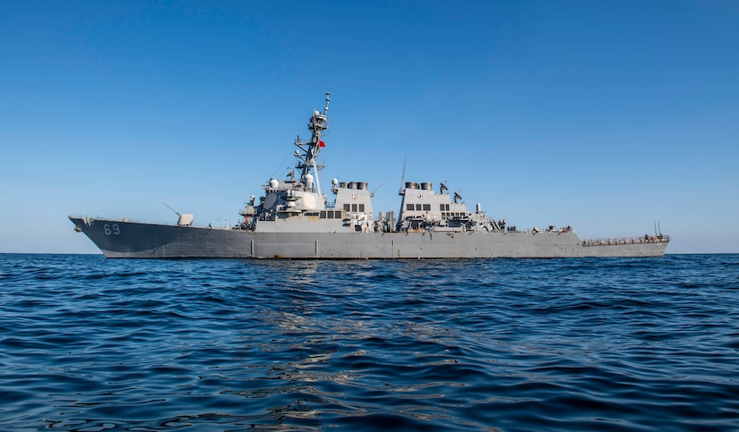 Arleigh Burke-class guided-missile destroyer sails in the sea.