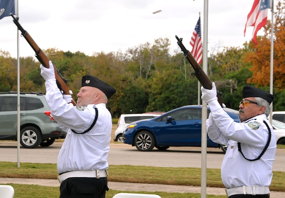 Members of the Fort Sam Houston Memorial Services Detachment help end the Fort Sam Houston National Cemetery Veterans Day Ceremony Nov. 11 with three volleys of rifle fire.