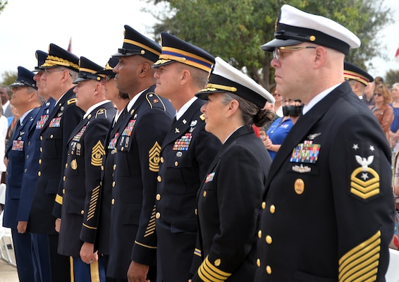 Military leaders from across Joint Base San Antonio were joined by hundreds of veterans, military members, family and patriots who turned out for a celebration of America's veterans at the Fort Sam Houston National Cemetery Veterans Day Ceremony Nov. 11.