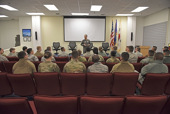 U.S. Air Force Lt. Gen. Ken Wilsbach, 7th Air Force commander, speaks with 8th Fighter Wing first-term Airmen during a base visit at Kunsan Air Base, Republic of Korea, Nov. 7, 2019. Wilsbach spoke with Airmen about quality of life, the future of the Air Force and the innovative nature of Airmen in today's force. (U.S. Air Force photo by Staff Sgt. Mackenzie Mendez)