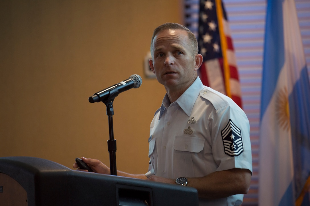 Photo of Chief Storms speaks at South American Air Chiefs and Senior Enlisted Leaders Conference