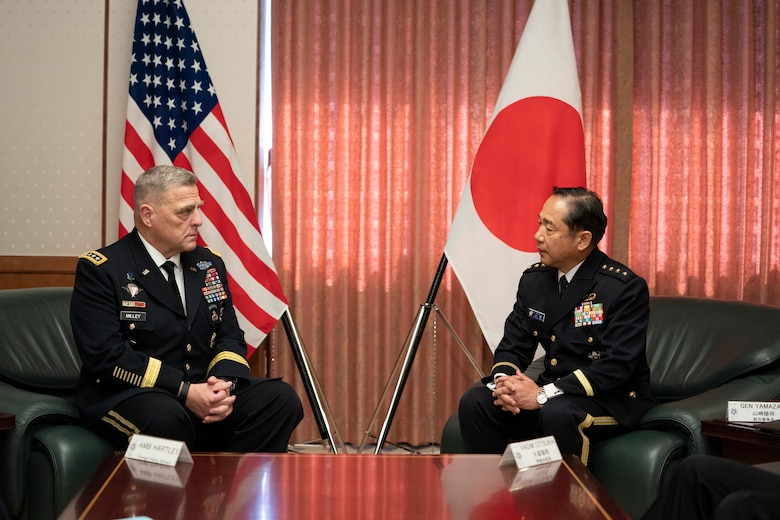 Army Gen. Mark A. Milley, chairman of the Joint Chiefs of Staff, meets with Japan Ground Self-Defense Force Gen. Kōji Yamazaki, Chief of Staff, Joint Staff, at the Japanese Ministry of Defense in Tokyo, Nov. 12, 2019.