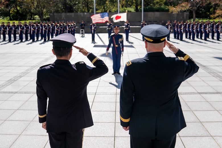 Army Gen. Mark A. Milley, chairman of the Joint Chiefs of Staff, and Japan Ground Self-Defense Force Gen. Kōji Yamazaki, Chief of Staff, Joint Staff, participate in an Honor Guard Ceremony at the Japanese Ministry of Defense in Tokyo, Nov. 12, 2019.