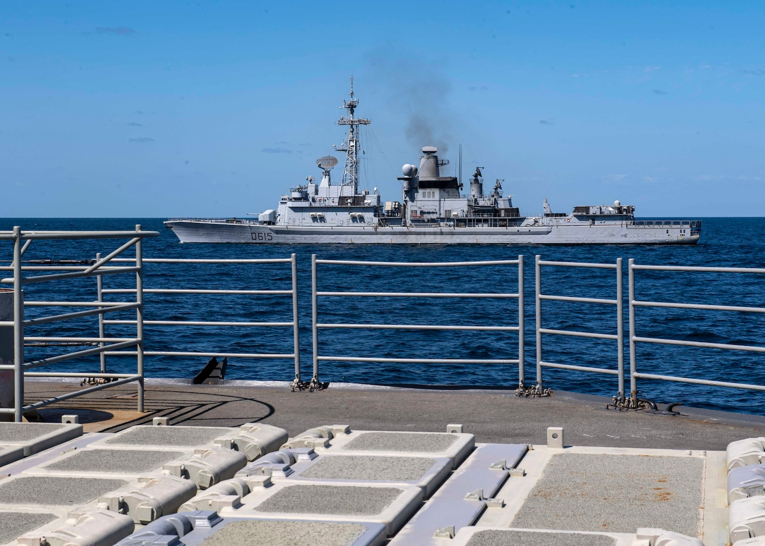 The French Navy ship Jean Bart transits alongside the guided-missile cruiser USS Normandy (CG 60) during International Maritime Exercise 2019 (IMX 19). The exercise is a multinational engagement involving partners and allies from around the world designed to facilitate the sharing of knowledge and experiences across the full spectrum of defensive maritime operations. IMX 19 serves to demonstrate the global resolve in maintaining regional security and stability, freedom of navigation and the free flow of commerce from the Suez Canal south to the Bab el-Mandeb Strait through the Strait of Hormuz to the Northern Arabian Gulf. (U.S. Navy photo by Mass Communication Specialist 2nd Class Michael H. Lehman)