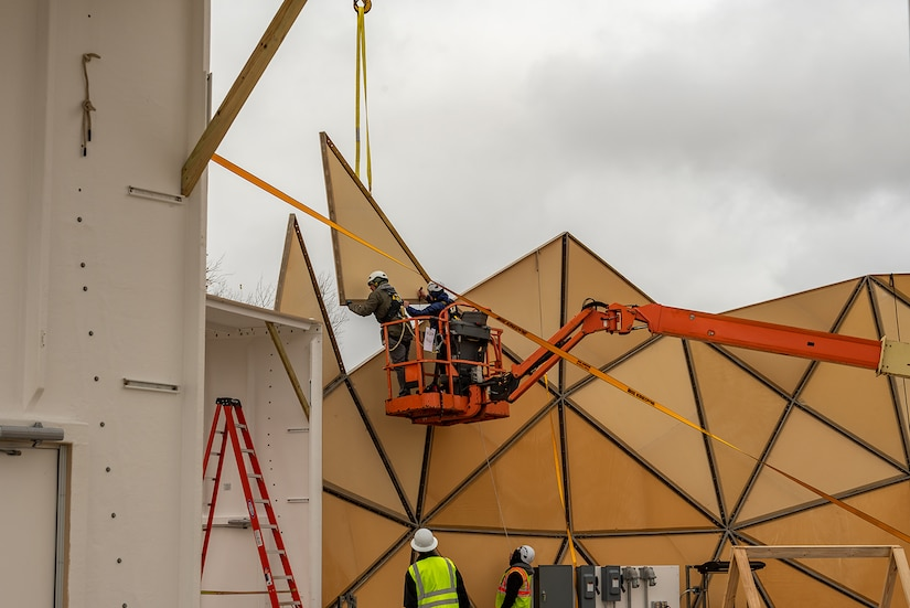 Photo of Radome being built at Tobyhanna
