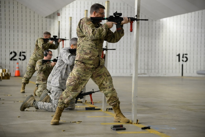 U.S. Air Force commander and group commanders of the 177th Fighter Wing, New Jersey Air National Guard, participate in weapons qualification training at the Transportation Security Administration firing range in Egg Harbor Township, N.J. on Nov. 5, 2019. The leaders took the security forces proficiency fire course to experience a base Defender's job. (U.S. Air National Guard photo by Senior Master Sgt. Andrew J. Moseley)