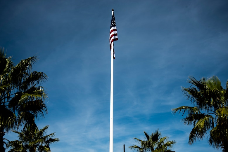 A United States flag is pictured at a Veterans Day parade celebration and wreath laying ceremony on Nov. 11, 2019, at Panama City, Florida. The annual event celebrated those who served in the past and to honor the sacrifices made by the service member as well as their families, both at home and abroad. The ceremony showcased significant songs, such as God Bless America and the National Anthem, and the wreath was put at the foot of the flag by a three-man team represented by the U.S. Navy and the Marines. (U.S. Air Force photo by Staff Sgt. Magen M. Reeves)