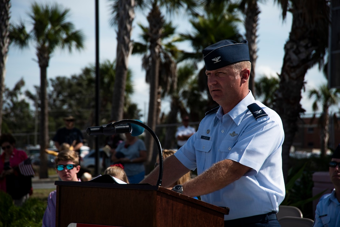 Col. Brian Laidlaw, 325th Fighter Wing commander, delivers a speech at the annual Veterans Day parade celebration and wreath laying ceremony on Nov. 11, 2019, at Panama City, Florida. The annual event celebrated those who served in the past and to honor the sacrifices made by the service member as well as their families, both at home and abroad. Laidlaw thanked many local community members who served in prior conflicts and also thanked Bay County for supporting their veterans. (U.S. Air Force photo by Staff Sgt. Magen M. Reeves)