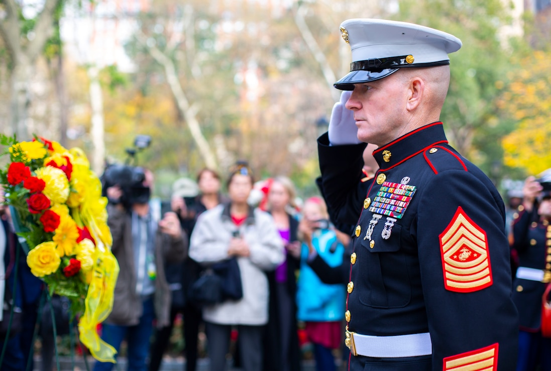 Sgt. Maj. of the Marine Corps, Sgt. Maj. Troy E. Black salutes following a wreath laying at the conclusion of the 2019 New York City Veterans Day Parade, which marked its centennial anniversary and honored the Marine Corps as its featured service. Formed Nov. 10, 1775, as naval augment forces capable of fighting both at sea and on shore, the Marine Corps has secured freedom in every major conflict America has faced. Together, the Navy-Marine Corps Team enables the joint force to partner together and operate on behalf of national defense in this era of great power competition. Steeped in the core values of honor, courage and commitment, Marines bring moral, physical, and intellectual strength to every situation. When their time in uniform is done, Marines use those qualities to continue to serve their communities.