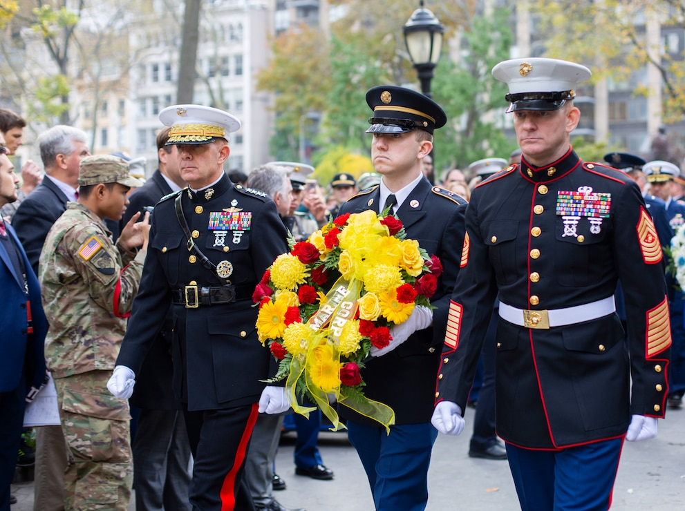 Commandant of the Marine Corps, Gen. David H. Berger, left, and Sgt. Maj. of the Marine Corps, Sgt. Maj. Troy E. Black, right, prepare to lay a wreath at the conclusion of the 2019 New York City Veterans Day Parade, which marked its centennial anniversary and honored the Marine Corps as its featured service. Formed Nov. 10, 1775, as naval augment forces capable of fighting both at sea and on shore, the Marine Corps has secured freedom in every major conflict America has faced. Together, the Navy-Marine Corps Team enables the joint force to partner together and operate on behalf of national defense in this era of great power competition. Steeped in the core values of honor, courage and commitment, Marines bring moral, physical, and intellectual strength to every situation. When their time in uniform is done, Marines use those qualities to continue to serve their communities.