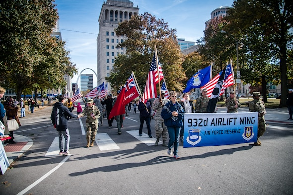 U.S Air Force Reserve Command Citizen Airmen from the 932nd Airlift Wing joined with family and friends to honor all Veterans at the St. Louis Veterans Day Parade, downtown St. Louis, Missouri, Nov. 9, 2019.(U.S. Air Force photo by Christopher Parr)