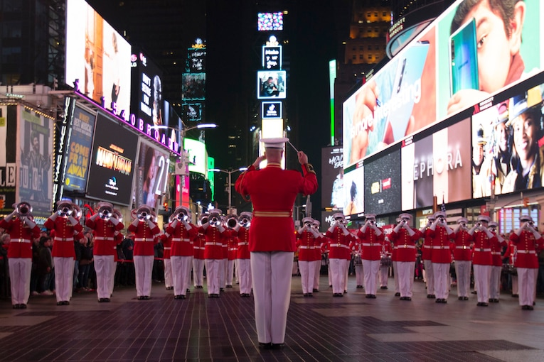 Marine Corps musicians perform in the middle of Times Square