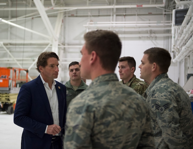 U.S. Rep. Dean Phillips of Minnesota's third district, visits with Airmen from the 133rd Maintenance Group in St. Paul, Minn. Nov. 6, 2019.