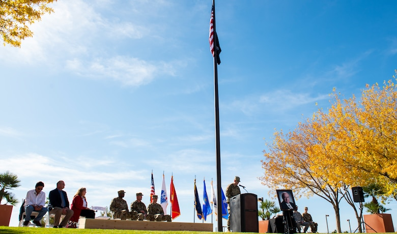 U.S. Army Staff Sgt. Brian O'Callaghan, Mike O'Callaghan's grandson, gives his remarks during a ceremony celebrating the Mike O'Callaghan Military Medical Center's 25th Anniversary at Nellis Air Force Base, Nevada, Nov. 12, 2019. O'Callaghan told multiple personal stories about moments he and his grandfather had shared together during his speech. (U.S. Air Force photo by Senior Airman Kevin Tanenbaum)
