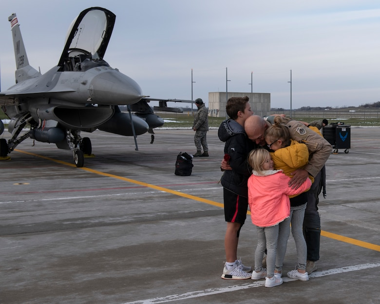 F-16 Fighting Falcon pilots assigned to the 115th Fighter Wing in Madison Wisconsin returned to Truax Field November 9, 2019 following a three month deployment to Bagram Airfield, Afghanistan.