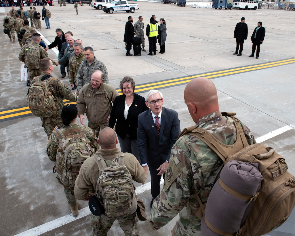 Wisconsin Governor Tony Evers and Madison Mayor Satya Rhodes-Conway join Wisconsin National Guard senior leadership at Truax Field November 9, 2019 to welcome home Wisconsin Airmen returning from a three month deployment to Bagram Airfield, Afghanistan.