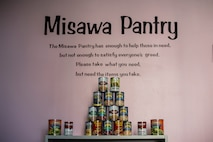 A pyramid of canned goods sit on a cabinet at the 35th Fighter Wing Pantry at Misawa Air Base, Japan, Nov. 1, 2019. The food pantry offers canned goods, giving active duty members and their families the opportunity to stock up on essential food items for free. (U.S. Air Force photo by Airman 1st Class China M. Shock)