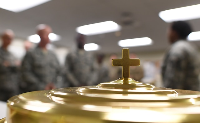 A protestant service communion tray is on display during the 335th Training Squadron religious affairs course inside Allee Hall at Keesler Air Force Base, Mississippi, Oct. 17, 2019. The six-week-long technical training course has been relocated and revamped to improve the training of their enlisted Airmen. (U.S. Air Force photo by Kemberly Groue)