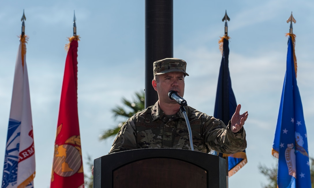 Col. Cavan Craddock, 99th Air Base Wing commander, speaks during a ceremony celebrating the Mike O'Callaghan Military Medical Center's 25th Anniversary at Nellis Air Force Base, Nevada, Nov. 12, 2019. The event served to not only commemorate O'Callaghan, but also as an official groundbreaking ceremony for a new wing of the hospital. (U.S. Air Force photo by Senior Airman Kevin Tanenbaum)
