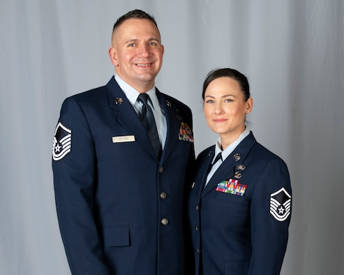 Alaska Air National Guard Master Sergeants Franz and Jessica Deters, pose for a photo at Joint Base Elmendorf-Richardson, Alaska, Nov. 7, 2019. Franz and Jessica are both assigned to the 176th Force Support Flight as a sustainment services superintendent and installation personnel readiness specialist respectively. The Deters, who married in 2012, transitioned to the ANG after serving in the U.S. Marine Corps.