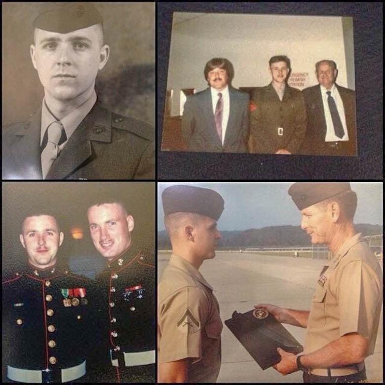 A photo collage of U.S. Air Force Maj. Kerry Lyon, 94th Operations Support Squadron deputy chief of wing intelligence, displays moments during his early career in the U.S. Marine Corps. Lyon recently marked 30 years of military service during Exercise Real Thaw 2019. Real Thaw is a Portuguese-led large joint and combined force exercise held annually where Dobbins supports many of the aerial functions of the exercise. (Courtesy Photo)