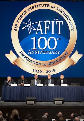 A panel of Air Force Institute of Technology alumni who went on to become astronauts discuss how AFIT impacted their careers and the future of space as part of the AFIT Centennial Symposium on Wright-Patterson Air Force Base, Ohio, Nov. 7, 2019. The panel, which included Buzz Aldrin, the second man on the moon, and Guy Bluford, the first African-American in space, also took questions from the audience of AFIT students. (U.S. Air Force photo by R.J. Oriez)