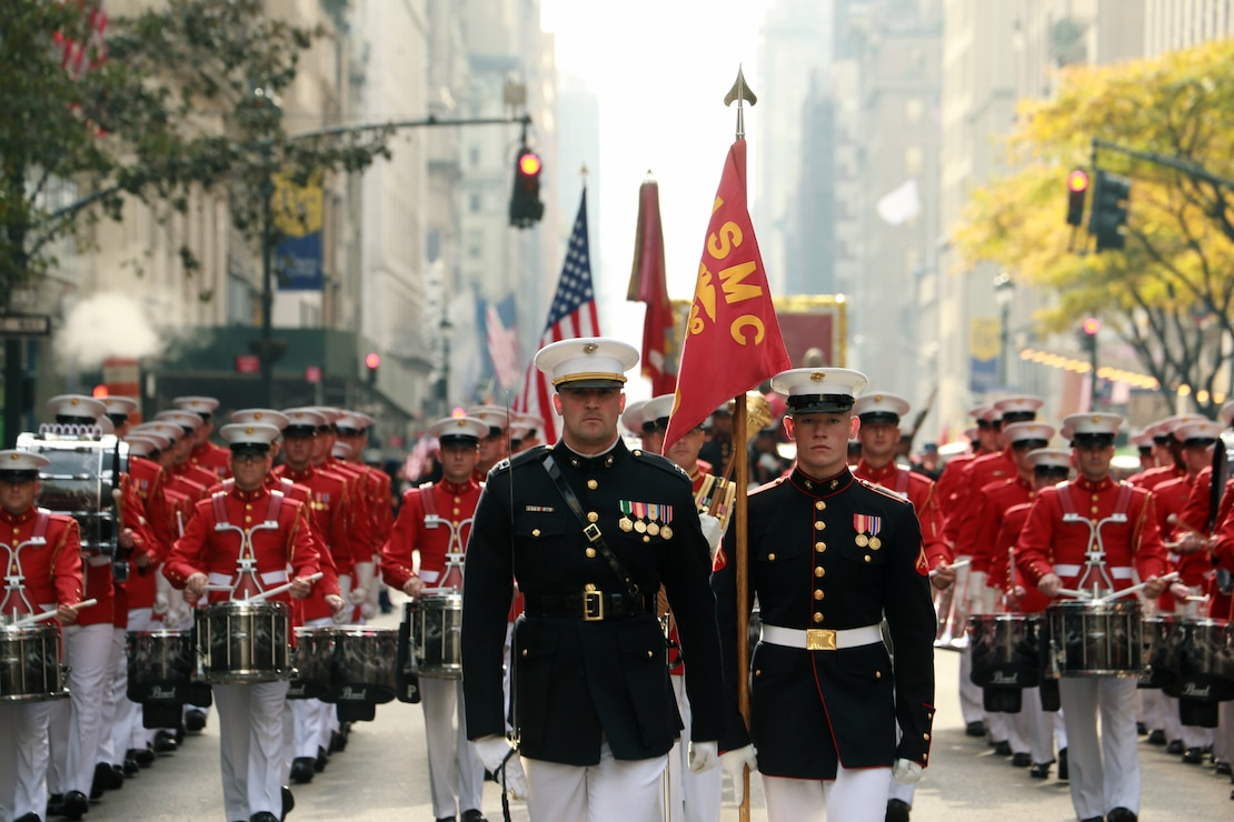 Marines with the Battle Color Detachment, Marine Barracks Washington, D.C., march during the 2019 Veteran's Day Parade in New York, New York, Nov. 11, 2019. The Veteran's Day Parade is hosted annually to commemorate the service and sacrifice of service members and their families.