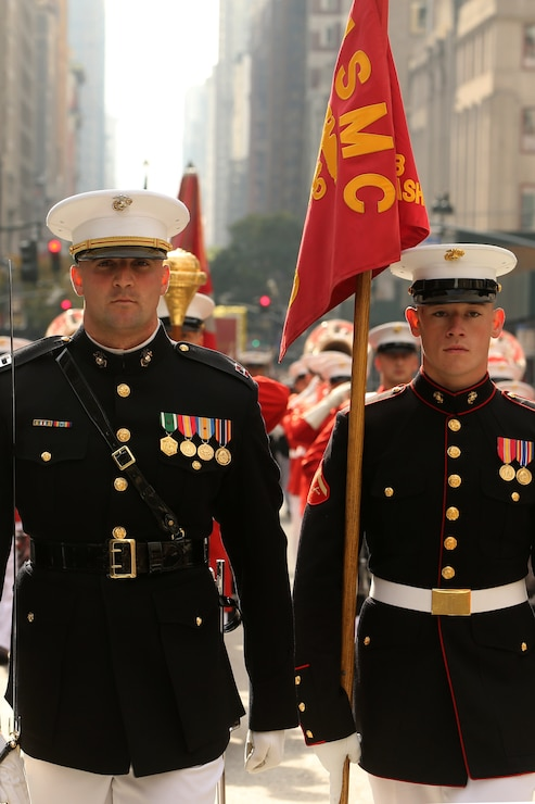 Marines with Marine Barracks Washington march during the 2019 Veteran's Day Parade in New York, New York, Nov. 11, 2019. The Veteran's Day Parade is hosted annually to commemorate the service and sacrifice of service members and their families.