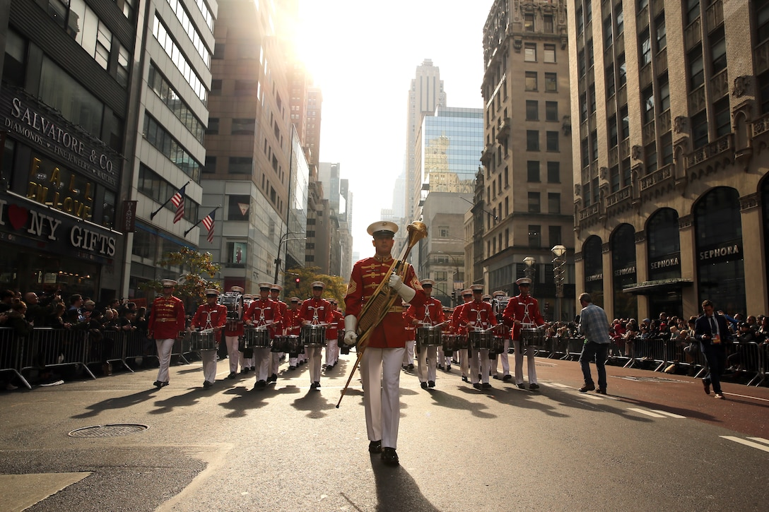 "Master Gunnery Sgt. Keith Martinez, drum major, ""The Commandant's Own,"" U.S. Marine Drum and Bugle Corps, marches during the 2019 Veteran's Day Parade in New York, New York, Nov. 11, 2019. The Veteran's Day Parade is hosted annually to commemorate the service and sacrifice of service members and their families."