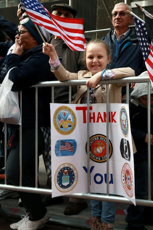 Supporters attend the 2019 Veteran's Day Parade in New York, New York, Nov. 11, 2019. The Veteran's Day Parade is hosted annually to commemorate the service and sacrifice of service members and their families.