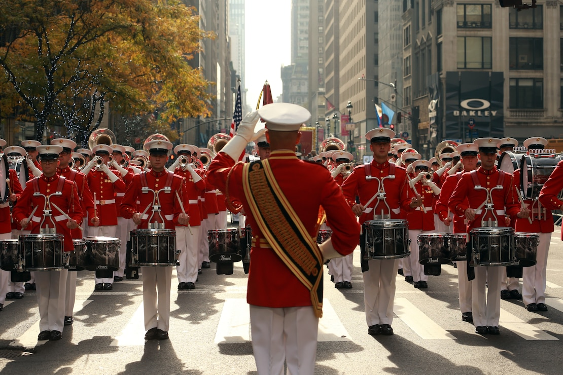 "Marines with ""The Commandant's Own,"" U.S. Marine Drum and Bugle Corps perform during the 2019 Veteran's Day Parade in New York, New York, Nov. 11, 2019. The Veteran's Day Parade is hosted annually to commemorate the service and sacrifice of service members and their families."