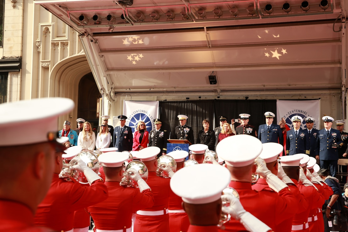 "Marines with ""The Commandant's Own,"" U.S. Marine Drum and Bugle Corps perform the ""Marines' Hymn"" during the 2019 Veteran's Day Parade in New York, New York, Nov. 11, 2019. The Veteran's Day Parade is hosted annually to commemorate the service and sacrifice of service members and their families."