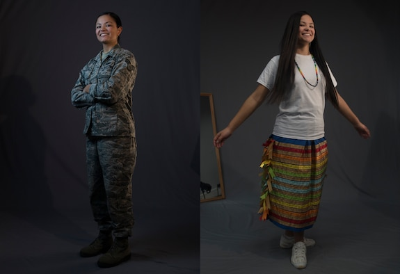 U.S. Air Force Senior Airman Kaylea Berry, 86th Airlift Wing Public Affairs broadcast journalist, is pictured in her military uniform, left, and her traditional Mvskoko (creek) Nation attire at Ramstein Air Base, Germany, Nov 8, 2019. Berry keeps a connection with her tribe by learning its language and history, and by reading about how current events affect her, her family, and her tribe.