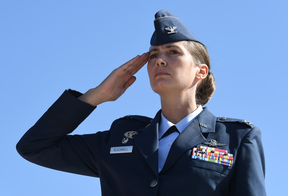 U.S. Air Force Col. Heather Blackwell, 81st Training Wing commander, renders a salute during the 19th Annual Gulf Coast Veterans Day Parade in DíIberville, Mississippi, Nov. 9, 2019. Keesler Air Force Base leadership, along with hundreds of Airmen, attended and participated in the parade in support of all veterans past and present. More than 70 unique floats, marching bands and military units marched in the largest Veterans Day parade on the Gulf Coast. (U.S. Air Force photo by Kemberly Groue)
