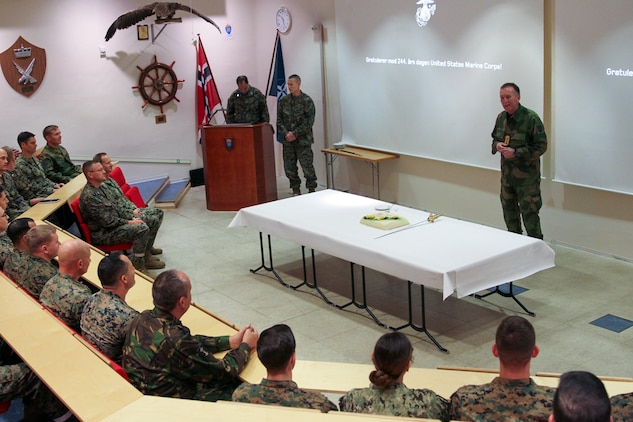Norwegian Army Lt. Gen. Rune Jakobsen, commander, Norwegian Joint Headquarters (NJHQ), speaks to U.S. Marines and Sailors, service members of the Norwegian Armed Forces, NATO allies and partners during a ceremony commemorating the 244th U.S. Marine Corps Birthday at the NJHQ, Reitan, Norway, Nov. 10, 2019.  The group celebrated the U.S. Marine Corps' warfighting history while sharing military traditions during a short pause in Exercise Trident Jupiter.  The exercise brings together NATO nations to assess their ability to conduct high-end, NATO-level mission planning and execution in a simulated scenario against a peer adversary. (Norwegian Army photo by Mads Bertelsen Reis)