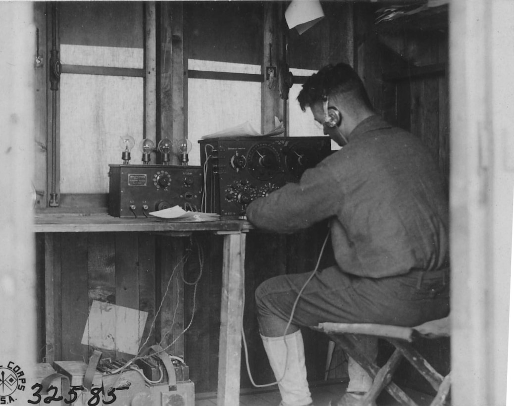 Field intercept operator, World War I (National Archives)