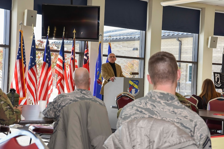 Col. James Locke, 128th Air Refueling Wing Commander, and Daniel Benavides, LCSW licensed clinical social worker from Summit Psychology Clinic, were presented with an 'Achievement of Excellence in Wingman Care' award here Milwaukee, Nov. 12, 2019. The 128th Air Refueling Wing hosted the Bi-Annual Community Commanders Call on behalf of Zablocki Veterans Affairs and Milwaukee Vet Center 12 Nov. 2019 at Sijan Hall, General Mitchell Air National Guard Base