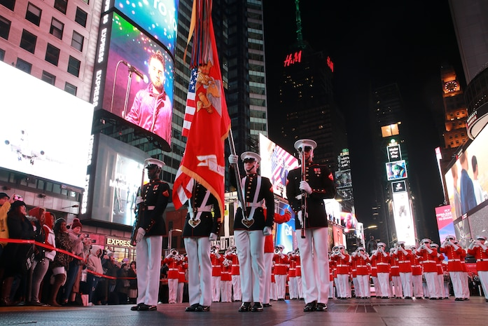 The Marines from the Battle Color Detachment, Marine Barracks Washington D.C., performed at Times Square in honor of the Marine Corps' 244th Birthday.