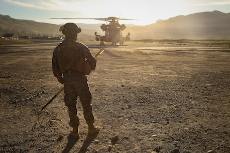 Marine with 1st Supply Battalion prepares to conduct an external lift during Mountain Exercise.