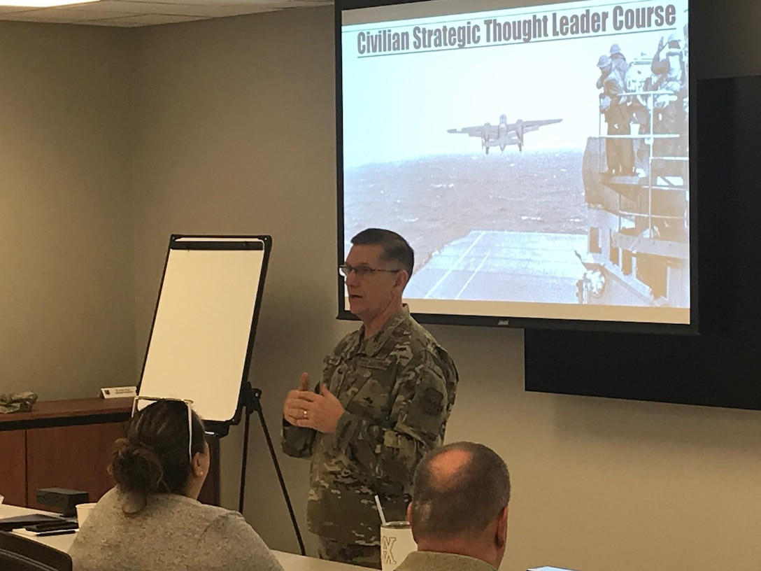 en. Tim Ray, Air Force Global Strike Command commander speaks to Civilian Strategic Thought Leader Course students about the importance of the command, its mission and its role as a strategic influencer on the world stage Nov. 6, 2019.