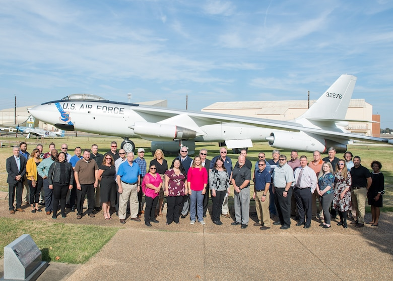 Attendees of the Air Force Global Strike Command Strategic Thought Leader Course pose for a group photo at Barksdale Air Force Base, La., Nov. 6, 2019