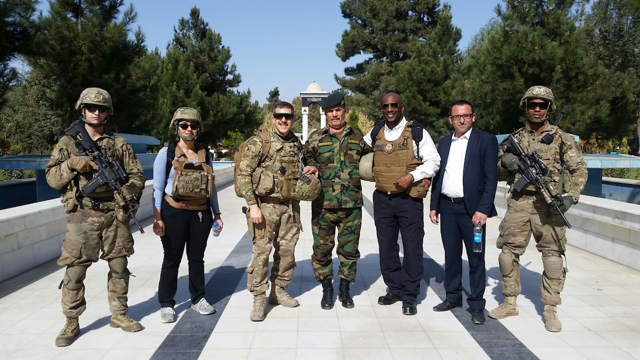 Col Szostak and Ben Johnson with their advising team (2 translators and two Guardian Angels) with Gen Sayed, Assistant to the First Deputy Minister of Defense. Photo courtesy of Paul Szostak