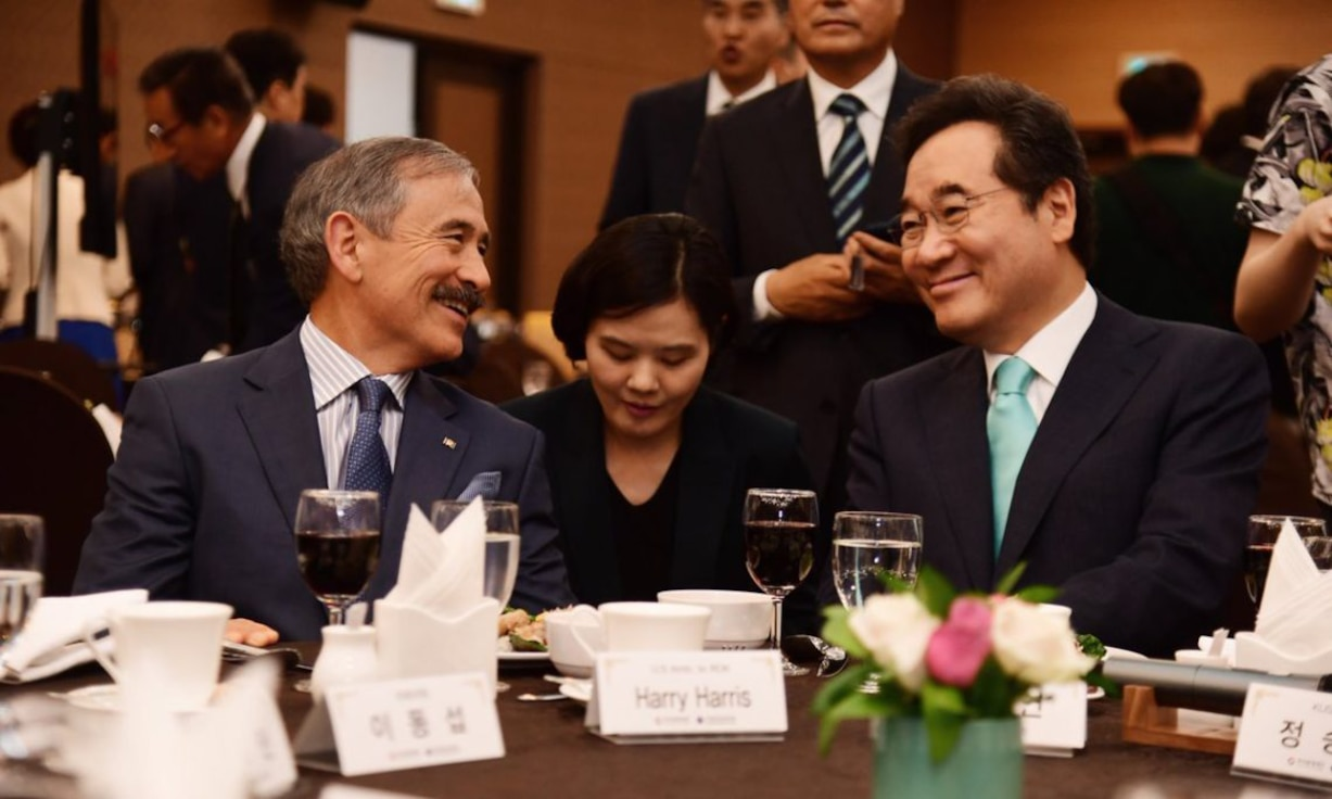 Ambassador Harry Harris meets with South Korean prime minister Lee Nak-yeon, a former Korean Augmentation To the United States Army (KATUSA) soldier, at the Fifth Korea–US Alliance Forum. The Korea–US Alliance Foundation and the Korea Defense Veterans Association cohosted the forum in July 2019. Photo by US Mission Korea