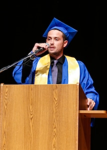 """The NNSY Apprentice Program Class of 2019 valedictorian was Matthew N. Waters, a Shop 38 marine machinery mechanic. The 29-year-old Western Branch High School graduate completed the program with a 3.914 GPA. """"These graduates possess unrelenting perseverance and commitment to quality and excellence to serve America's Shipyard,"""" said Waters. """"It's often a marathon that teaches you a lot about the finish line. Without the hurdles I've encountered, I wouldn't be here today. Use your obstacles to make you stronger and smarter. Embrace the chaos, conquer your fears, and become the best version of yourself. Take pride is what you do, don't take it for granted, don't ever compromise your integrity, strive for your goals, and selflessly serve America's Fleet."""""""