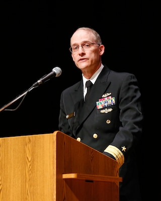 The keynote speaker for the NNSY Apprentice Graduation was Rear Admiral William C. Greene, Fleet Maintenance Officer, U.S. Fleet Forces Command. In his speech, he spoke about the fleet's current readiness and future, and what it would take to maintain it.