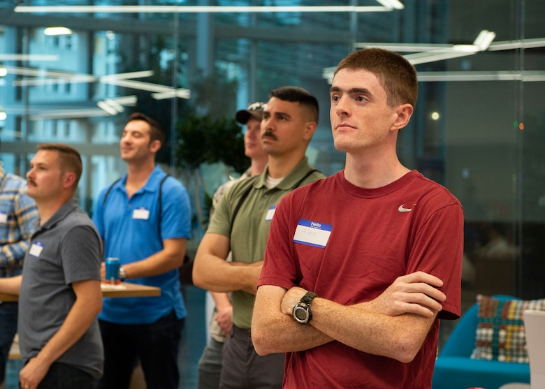 Project NEXUS students attend the course welcome event at the AFWERX-Austin hub, Texas, July 8, 2019. Designed by the Air Education and Training Command Technology Integration Detachment, the beta test program was designed to fuel organic technology problem solving efforts for Airmen in their day-to-day workplaces. (Air National Guard Photo by Staff Sgt. Jordyn Fetter)